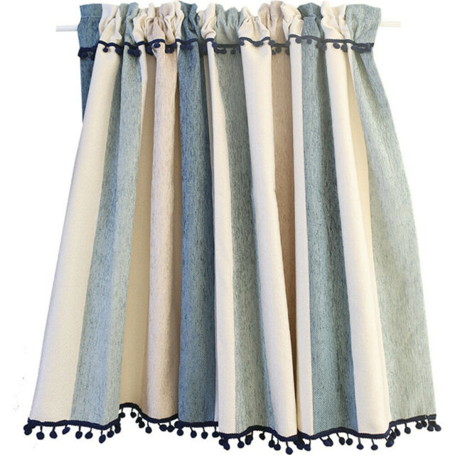 short cafe curtain blue and beige stripe kitchen curtain for small window 1piece | ebay