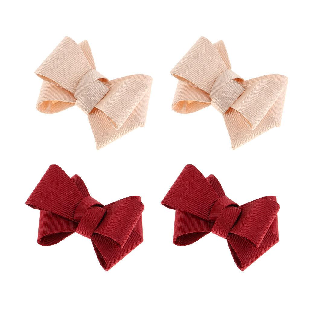 4 lot Plain Bowknot Shoe Clips Weddings Prom Shoe Charms Buckle 2 Colors