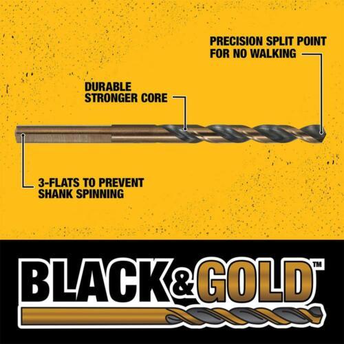 Dewalt Durable Drill Bit Set Kit Large Twist High Speed For Metal FiberGlass