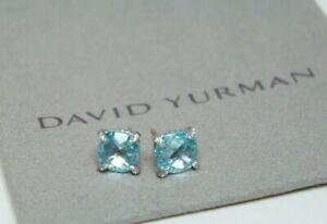 David-Yurman-925-Silver-9mm-Light-Blue-Topaz-Diamond-Chatelaine-Earrings-amp-Pouch