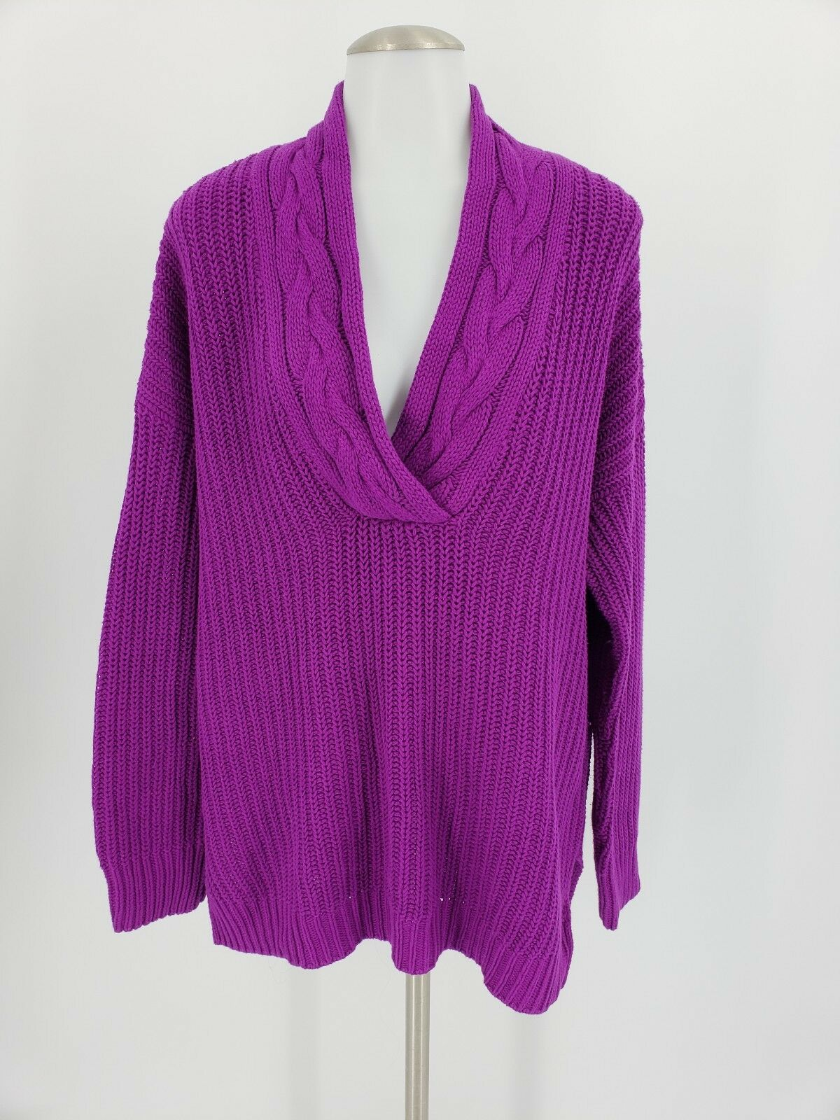RALPH LAUREN Women's L Shawl Collar Cable Knit Long Sleeve Tunic Sweater Plum