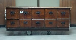 Antique Original Sherer Store File Cabinet Counter 7ft Heavy Wear & Damage