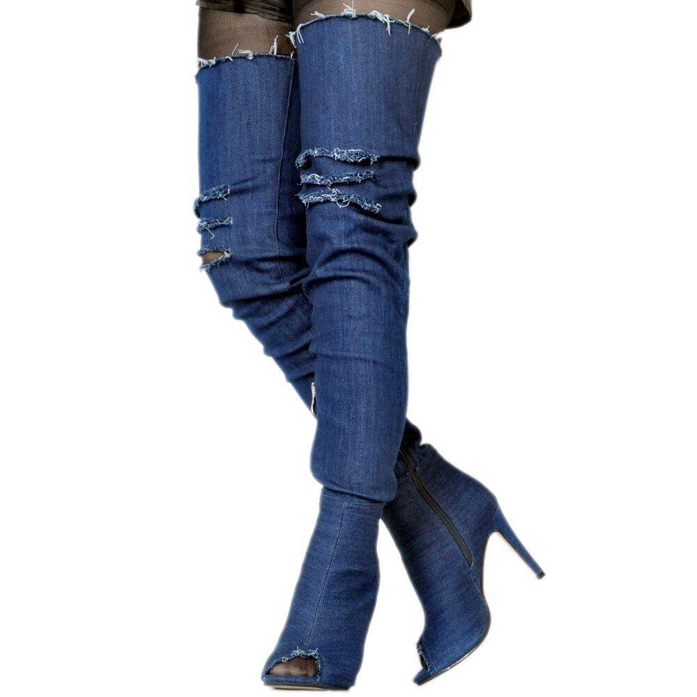 NICE Women Over-the-Knee Boots Denim Peep Toe Heels Boots bluee Party shoes Women