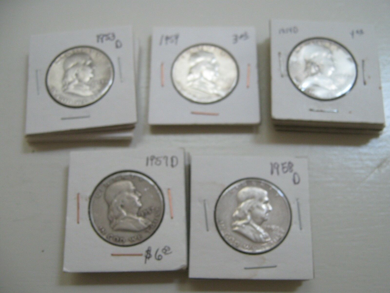 Franklin Half Dollar , Lot of 60 , Circulated , 1940s t