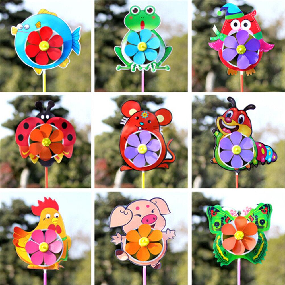 Plastic Wind Spinner Windmill Cute Cartoon Animals Kids Outdoor Toys B3A6 BOA