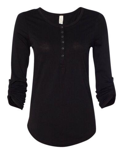 Alternative Apparel Ladies Rolled Sleeve Scoopneck Henley S-XL Cotton T-Shirt