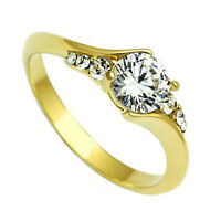 0.65ct Clear Cz Precios Stones Gold Ep Ladies Promise Ring Size 5-6-7-8