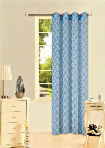 """2 PRINTED VOILE SHEER WINDOW GROMMET PANELS CURTAIN TREATMENT 2 TONE #S38 95/"""""""