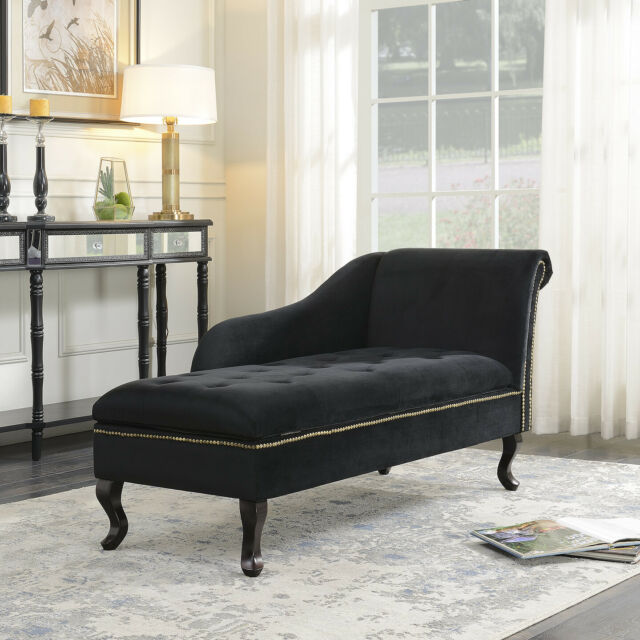 Chaise Lounge Bench Storage Couch Black