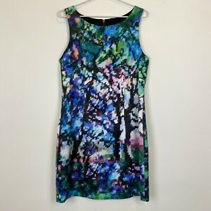 Portmans-Womens-Multicoloured-Sleeveless-Lined-Dress-with-Back-Zipper-Size-12