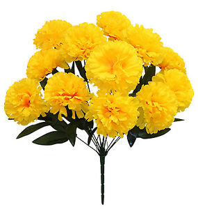 12 yellow carnations long stems silk wedding flowers bouquets image is loading 12 yellow carnations long stems silk wedding flowers mightylinksfo