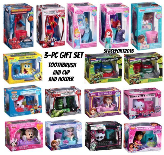 3pc Kids BATHROOM SET Toothbrush +Drink Cup +Holder Disney Bath Decor  Avengers