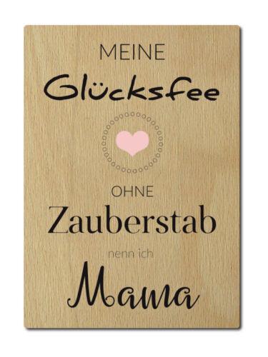 LUXECARDS POSTKARTE aus Holz MEINE GLÜCKSFEE Mama Geburtstag Muttertag Geschenk