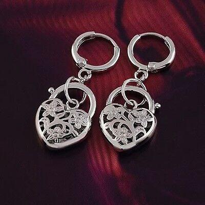9k White Gold Filled GF Filigree heart Dangle Love Woman earrings E-A203