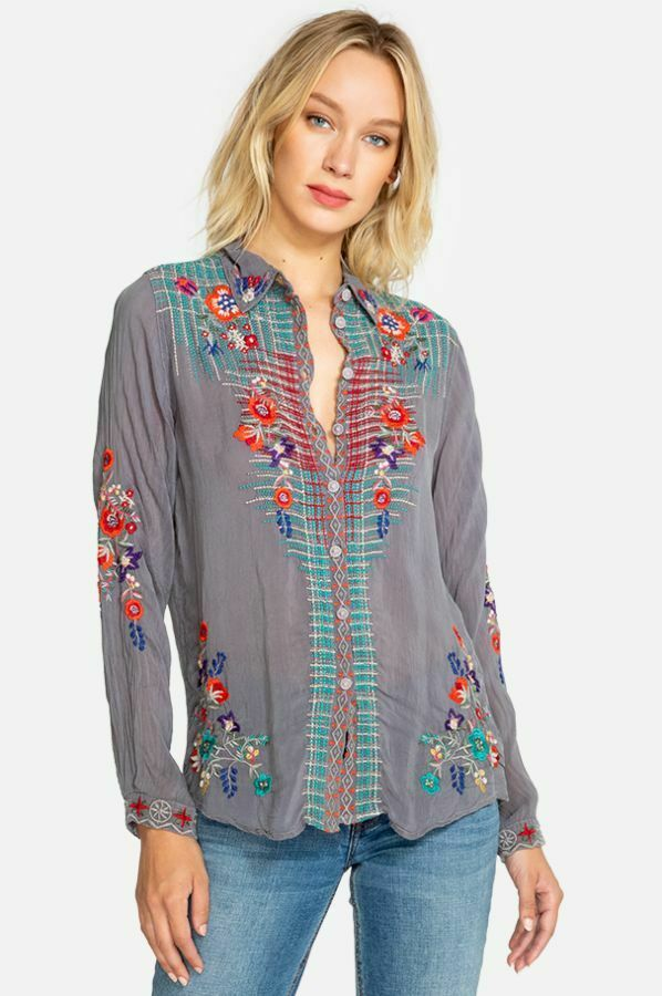 Johnny Was Plaid Embroidery Button Down Long Sleeve Blouse  C14918 New Boho