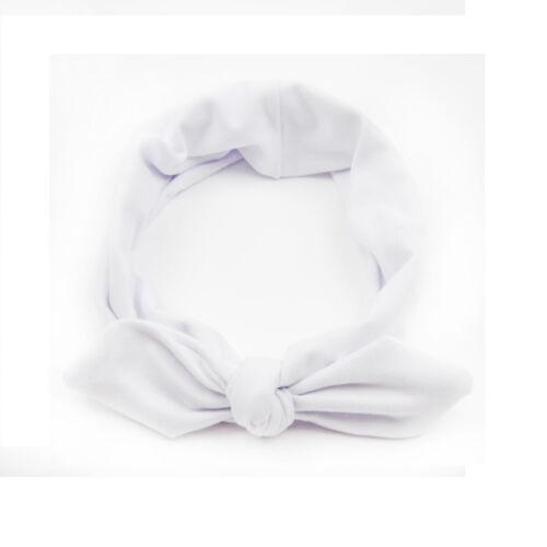 Female Elastic Stretch Plain Rabbit Bow  Hair Band Headband Turban