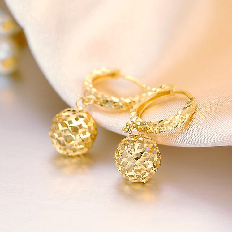 Best Gift Pure 18K Yellow gold Dangle Ball Earrings   2gram 20mm H