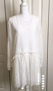7f48c13385 Details about Love Johnny Was Rai Lace Dress Size L White Boho High Low  Long Sleeve