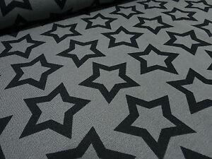 Stoff-Baumwolle-Jersey-Sterne-Star-Stripe-grau-schwarz-Kinderstoff