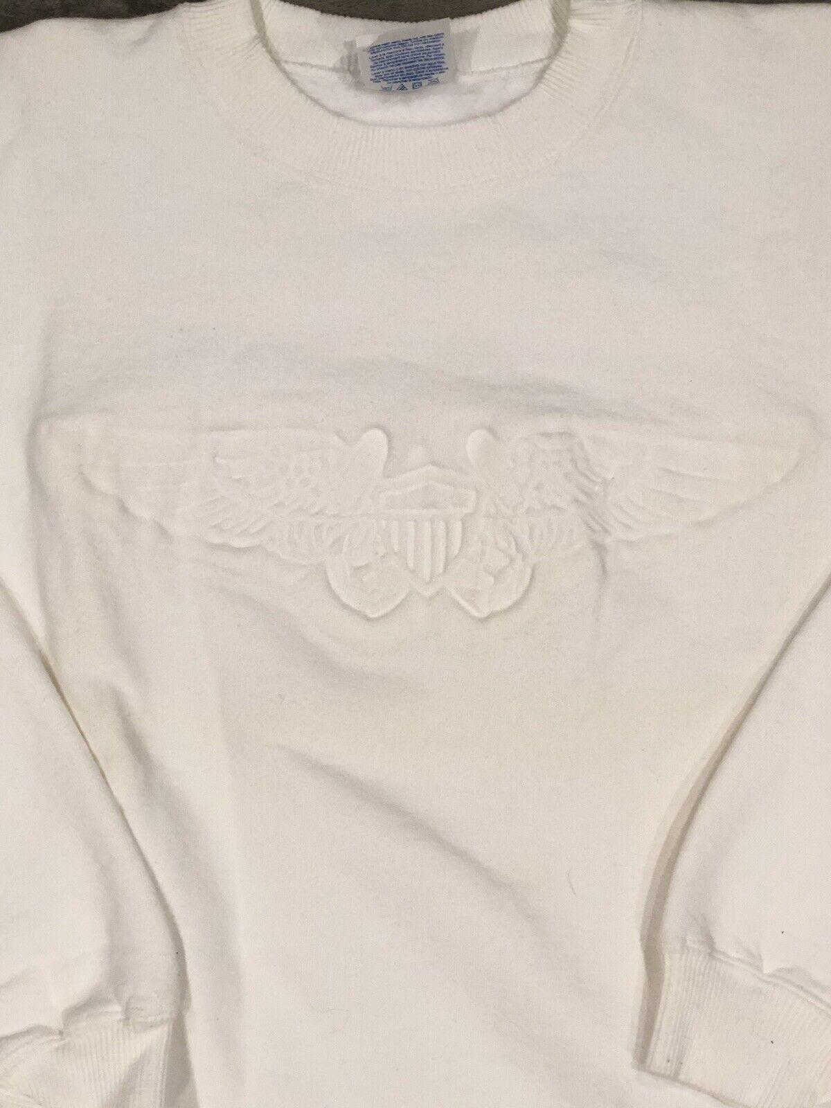 US ARMY Aviator Wings Pilot Embossed SWEATER Gildan Large Sweatshirt West Point