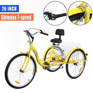 "Ridgeyard 7 Speed 26/"" 3-Wheel Adult Tricycle Trike Bicycle Cruise Seat Backrest"