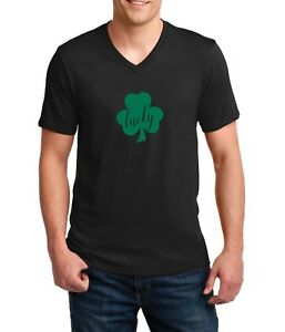 3cd2f4c45 Mens V-neck Lucky #2 Green Clover T Shirt Irish Shamrock St ...