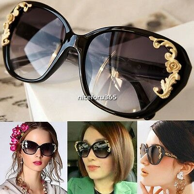 Fashion New Retro Vintage Shades Oversized Women Designer Sunglasses Black Frame