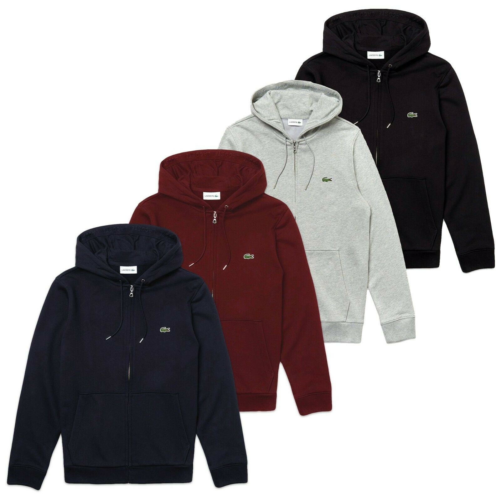 Lacoste Hoodie - Lacoste SH4286 Zip-Thru Hooded Sweat - Navy schwarz grau rot