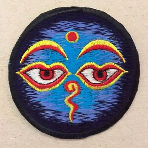 "Buddha Eye Sew On Patch 3/""//7.5cms Two Colours Nepal Buddhist Lucky Hippy"