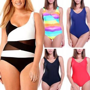 c0a4af65b3 Plus Size Womens Swimwear High Waist One Piece Push-up Swimsuit ...