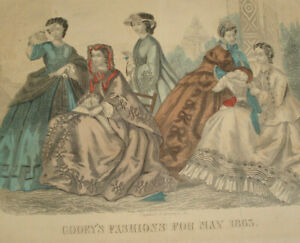 Antique 1863 GODEY'S Fashions For May 1863 Capewell & Kimmel Engraving Plates