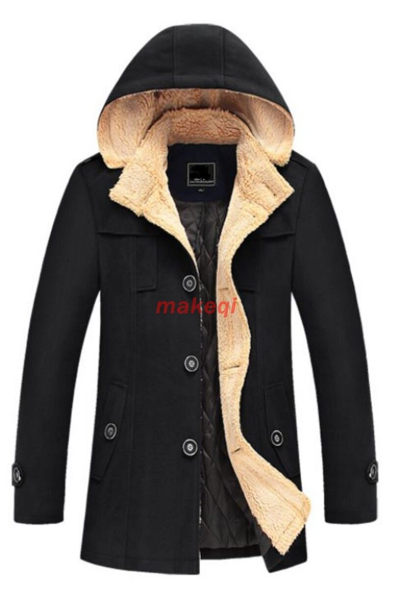 Winter Mens Trench Peacoat Slim Fit Hooded Wool Blend Overcoat Coats Parka