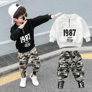 Trousers Clothes Cotton Camouflage Pants IENENS Kids Boys Outfits Sets Tops