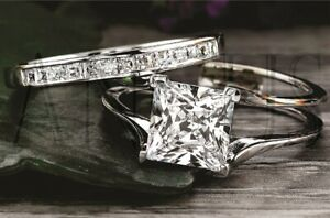 14K-White-gold-3-68ct-Princess-cut-Diamond-Bridal-Engagement-Ring-Wedding-Band