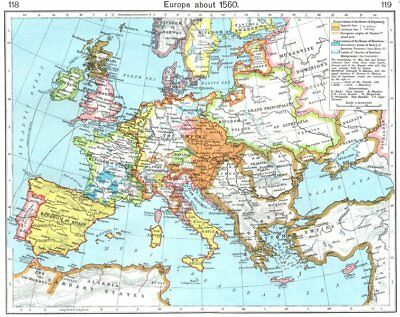 Antiques Art Europe About 1560 1956 Old Vintage Map Plan Chart Fragrant Aroma Good Europe
