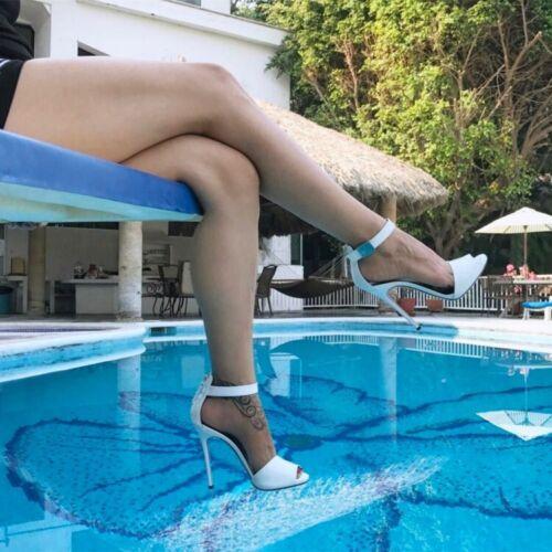 Donna Cinturino Alla Caviglia Punta Aperta Tacchi a Spillo Pompe Scarpe sandali alla moda US4.5-12.5