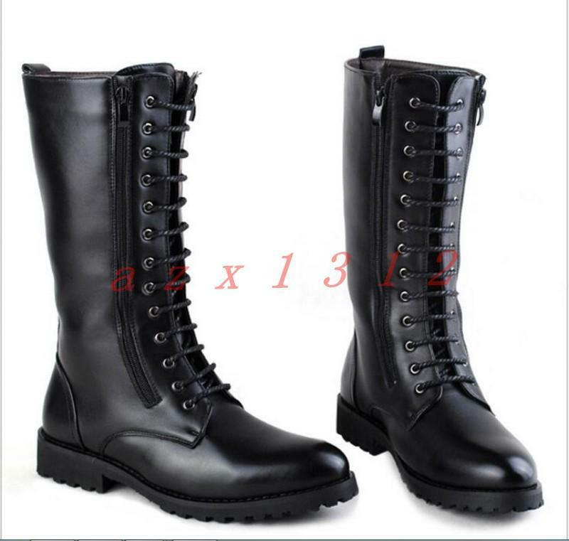 New Mens Zip Lace up British Military Knee High Long Combat Boots Retro shoes