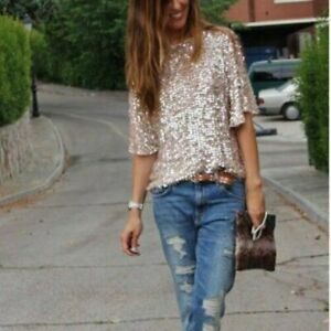 Women-039-s-Sequin-Shiny-Tops-Half-Sleeve-Bling-Glitter-Blouse-Summer-Loose-T-Shirt