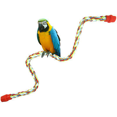 New Pet Bird Parrot Rope Parakeet Conure Cage Standing Perch Chew Peck Toy SE