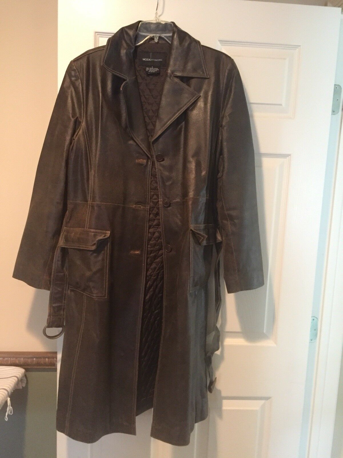 Victoria Secret Moda Int'l Leather Trench Coat Size Large Dark Brown