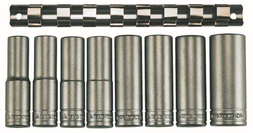"Teng Tools M1208-61//2/"" Drive Deep 6 Point Sockets Clip Rail 8pc"