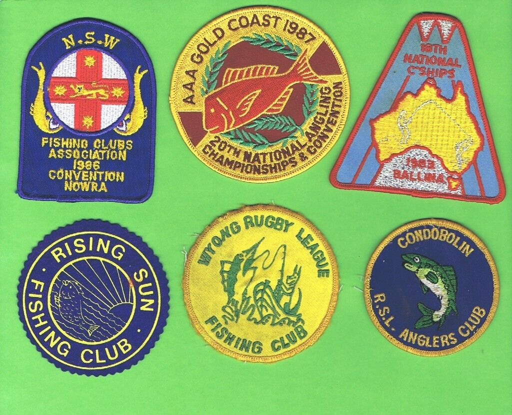 D18. SIX pesca RELATED CLOTH PATCHES