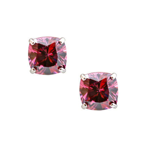 2CT Cushion Cut Amethyst Stud Earrings In Solid 14K White gold