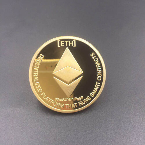 Silver Gold Plated Commemorative Collectible Golden Iron ETH Ethereum Miner Coin