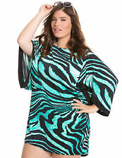 Blue Zebra 14 16 1X Lane Bryant Plus Size Animal Print Swimsuit Kimono Cover-Up
