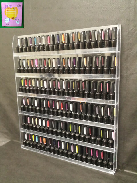 Acrylic Wall Rack Organizer Holds Up To 96 Bottles Nail