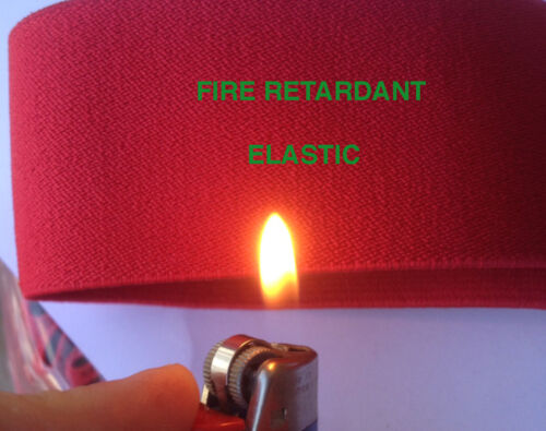 FIRE RETARDANT ELASTIC IN 50MM, 2 WIDTHS IN RED OR BLACK COLOUR - FREE SHIPPING
