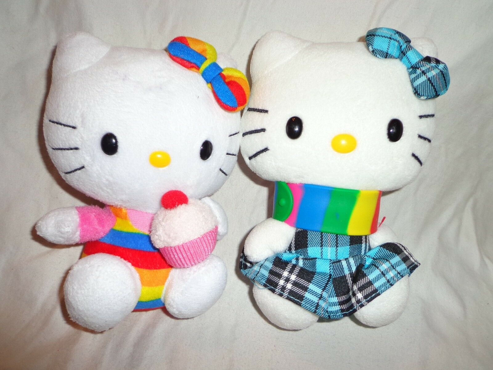 2 Hello Kitty Ty SanRio 7  Striped Plaid Plush Soft Toy Stuffed Animal