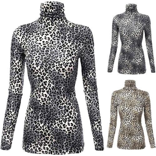 Women Leopard Turtleneck Fall Shirt Pullover Tops Long Sleeve Slim Blouse H-M