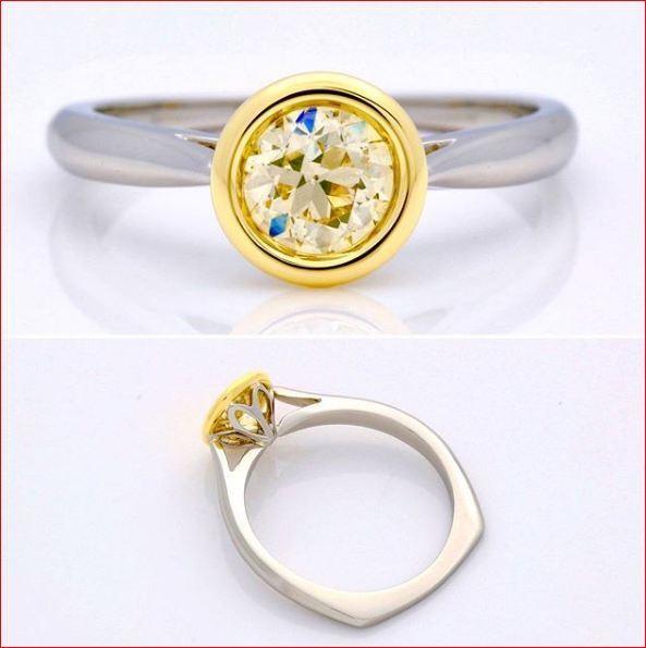 1 Ct Light Yellow Moissanite Bezel Set European Engagement Ring 14K White gold